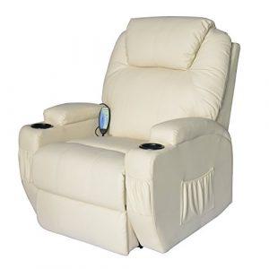 HOMCOM Fauteuil de Massage Electirque/Fauteuil Relaxation Chauffant et Vibrant Inclinable Pivotant Crème