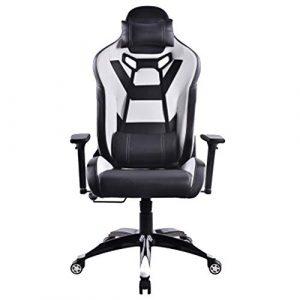 Chaise de Jeu réglable Chaise de Bureau à Dossier Haut, Chaise pivotante Dossier Chaise Ancre Manger Poulet Internet Cafe Noir Blanc-Blackwhite