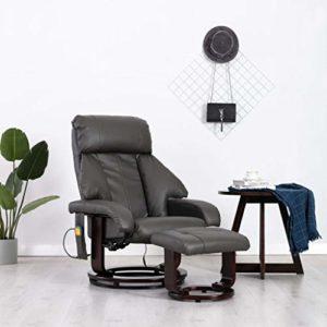 Festnight Fauteuil de Massage et Relaxation | Massant Fauteuil | Fauteuil de Massage TV Gris Similicuir