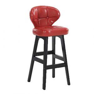 High stool X- Tabouret De Bar Haut en Bois avec Dossier PU, Petit Déjeuner Cuisine Salon Comptoir Chaise Haute Siège Chaise De Bar Chaise Jambes en Bois Tabouret De Bar