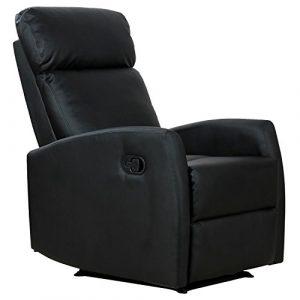 Homcom Fauteuil de Relaxation inclinable 180° avec Repose-Pied Ajustable Simili Cuir Noir