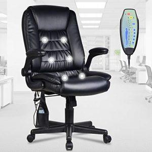 LENTIA Fauteuil de Bureau inclinable avec Fonction massante – Chaise rembourrée pivotante pour Le Bureau et la Maison, Massage, W69cm×D72cm×H106-115.5cm