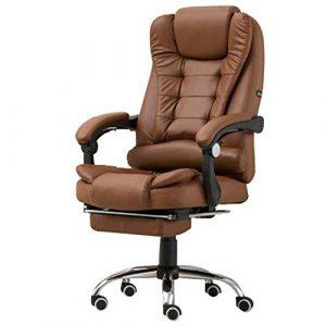 Lxwi Chaise de Bureau Ordinateur Chaise pivotante Bureau en Cuir Chaise Ergonomique inclinable avec Repose-Pied réglable Hauteur réglable Multi-Couleurs en Option (Color : A1, Size : B)