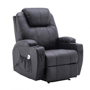 MCombo Fauteuil de massage électrique inclinable et vibrant (Noir)