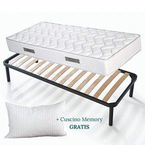 Set Sommier et Matelas simple 80×190 de 20 cm de hauteur avec Coussins en mousse mémoire de forme gratuits, lit complet, matelas avec revêtement massant sommier à lattes renforcé avec pieds – Offre