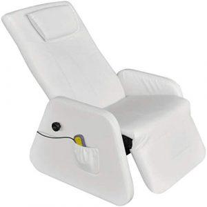 vidaXL Blanc Gravité zéro Fauteuil de Massage massant électrique en cuir artficiel