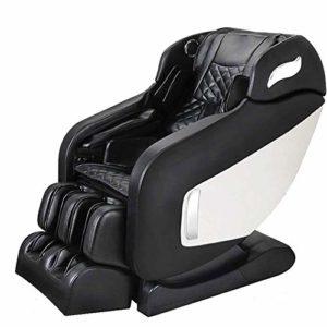 WSN Fauteuil de Massage inclinable, Fauteuil de Massage électrique Corps Entier shiatsu avec tapotement Chauffant Étirement Massage suédois Masseurs du Dos et des Pieds,Noir