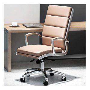 ZQY Ordinateur personnel Chaise en cuir étude étude pied en acier Chaise moderne simple patron Chaise de bureau Design ergonomique (Color : F)