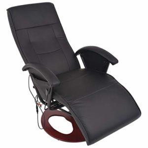 binzhoueushopping Fauteuil électrique massant en simili cuir noir design ergonomique, moderne, confortable et solide fauteuil massage