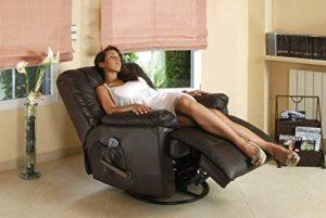 Fauteuil de massage ECO-DE en cuir marron chocolat 9 programmes de massage