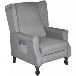 fzyhfa Fauteuil de massage électrique réglable en tissu gris design simple et pratique, stable et durable Tabouret fitness Relax fauteuils Jets électriques