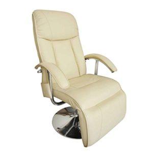 fzyhfa Fauteuil électrique massant en cuir artificiel blanc crème design simple et pratique, stable et durable Tabouret fitness Relax fauteuils Jets électriques