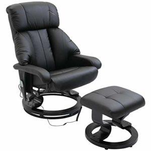 Homcom Fauteuil de Massage Relaxation Chauffage Electrique Repose-Pied Noir