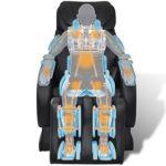 Tidyard Fauteuil de Massage Electrique en Cuir Artificiel Noir – Doux et Confortable – Massage Shiatsu – Massage des Epaules et du Cou – Pied et Dossier Réglables