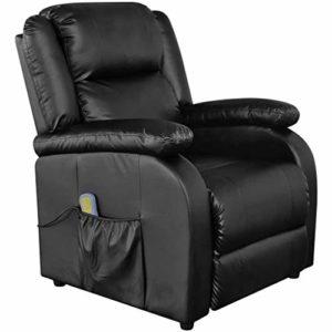 vidaXL Fauteuil de Massage Électrique Similicuir Réglable Noir Massant Chauffé