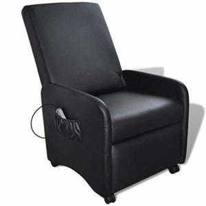 vidaXL Fauteuil de Massage massant inclinable et Pliable en Cuir Artificiel Noir