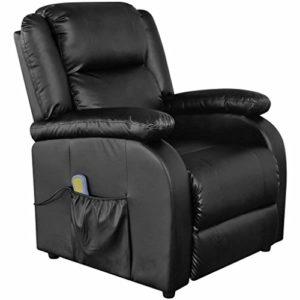 xinglieu Fauteuil Massage électrique inclinable en simili cuir noir design simple et confortable et résistant Tabouret fitness Fauteuil relax Massage