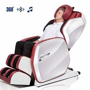 WSN Fauteuil de Massage Intelligent électrique, fauteuils de Massage à l'air intégral, Haut-Parleur Bluetooth avec étirement, tapotement, Chauffage, masseurs de Dos et de Pieds