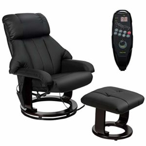 Costway Fauteuil Massant Électrique, Chaise de Massage Inclinable, Rotation 360° avec Télécommande,10 Nœuds de Massage, Fonction Chauffant, Poche Latéral et Repose-Pieds Noir pour Bureau/Salon