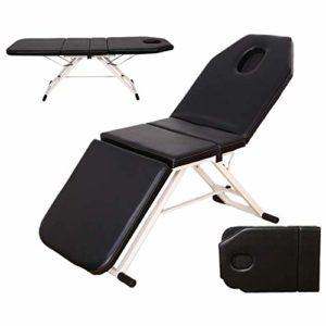 DEAR-JY Table de Massage,Fauteuil de Massage Portable Noir,Lit Pliant Multifonctionnel de Massage de Salon de beauté de ménage,pour Le Salon de beauté Massage Spa Therapy Tattoo Treatment