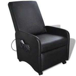 Festnight Fauteuil Massage en Cuir Artificiel Pliable et Inclinable avec 5 Modes Noir 65 x 83 x 101 cm