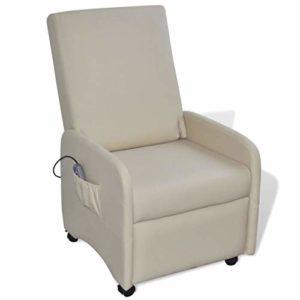 Gecheer Fauteuil Massage en Cuir Pliable et Inclinable Artificiel Crème 65 x 83 x 101 cm (l x P x H) 220 V, 50/60 Hz, 0,4 A