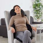 Medisana MCG 820 Gel Shiatsu, housse de siège de massage, coussin de massage avec fonction de chaleur, 4 têtes de massage rotatives en gel, massage intégré de la nuque, 3 niveaux d'intensité
