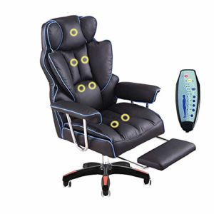 Chaises, chaises de bureau, fauteuils,Fauteuil de massage inclinable réglable de haute qualité en cuir de vachette, chaise de jeu d'ordinateur Office Boss Chair Lift pivotante Chair -blue-B-massage
