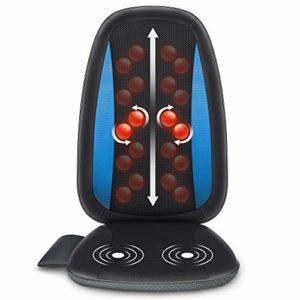 Comfier Masseur de dos Shiatsu avec chaleur- coussin de siège de massage, siège massant pour le soulagement complet de la douleur au dos, masseur de corps électrique pour maison & bureau