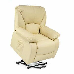 ECODE Fauteuil de Massage Releveur Chamonix, Fauteuil Elévateur électrique 160º, Fonction de chauffage, Programmes automatiques, Massage ondulant, A ++, ECO-8590UP B (Beige)