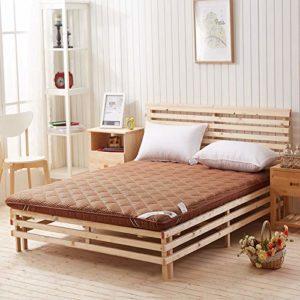 EVENEW Matelas en fibre de bambou avec matelas de massage pour dortoir simple, café, 135cmX200cm