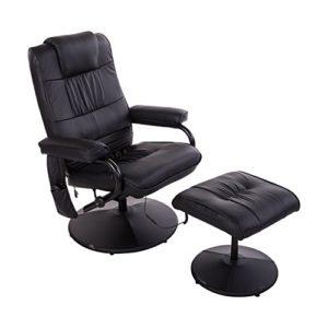 Homcom Fauteuil de Massage Relaxation électrique Chauffant inclinable 145° avec Repose-Pied + Pochette télécommande Noir