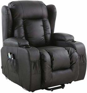 Ldoons Fauteuil de massage électrique inclinable relevable chauffant combiné avec une chaise en cuir (Noir)