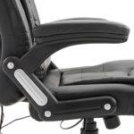 LZQ Fauteuil de massage de bureau pivotant avec fonction massage Chaise fauteuil de bureau Chaise pour ordinateur hauteur réglable PU Noir