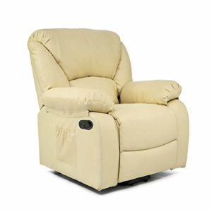 ECODE Fauteuil de Massage Relax Monaco, 10 vibromoteurs à ondulation, inclinable à 160 °, Fonction Chauffage, programmes automatiques, A ++, ECO-8590 B (Beige)