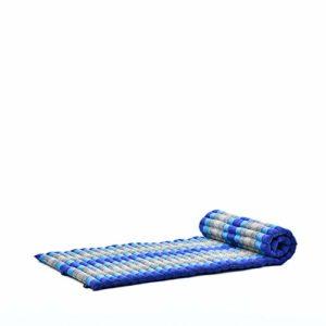 Leewadee Tapis Thaï Enroulable, 200x76x5 cm, Matelas D'invité Tapis De Yoga Matelas De Massage Produit Naturel Et Écologique, Kapok, Bleu