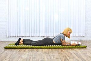 Leewadee Tapis Thaï Enroulable, 200x76x5 cm, Matelas D'invité Tapis De Yoga Matelas De Massage Produit Naturel Et Écologique, Kapok, Vert