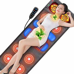 L-health Fauteuil Massant Coussin Massant Chauffée Tapis de Massage, Massage électrique Coussin Pétrissage Cou Taille Dos Complet du Corps du Rachis Cervical épaule for Utilisation à Domicile Bureau