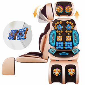 ZHIMIN Coussin de Massage, Couvre Siege Massant Dos, Chaise de Massage Pad pour l'épaule du Cou et Le Dos Taille Hanches réglable en Hauteur, Full Body Soulagement de la Douleur