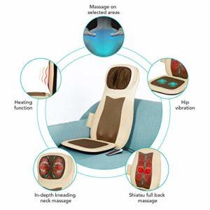 Naipo Massage du Dos Coussin Siège de Massage Massant Shiatsu Dos et le Cou avec Chauffant Pétrissage Roulement Masseur Electrique à Vibration