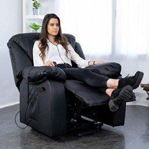 ECODE Fauteuil de Massage Relax Monaco, 10 vibromoteurs à ondulation, inclinable à 160 °, Fonction Chauffage, programmes automatiques, A ++, ECO-8590 N (Noir)