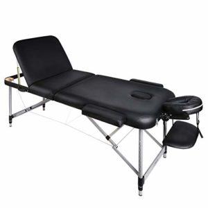 Naipo Tables de Massage Lit Cosmétique Pliante Aluminium Professionnel Portable Ergonomique Table Canapé Thérapie Haute Qualité Ultra Solide Léger Confort Noir + Housse de Transport et Accessoires