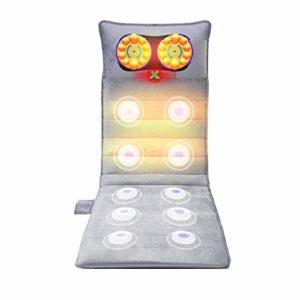 Ouumeis Matelas de Massage avec Chaleur soulager Les douleurs lombaires dans Les Jambes Coussin de Matelas de Massage Vibrant à réglage de 9 Modes Masseur électrique Complet du Corps Multifonctionnel