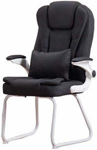 Tabourets de bar THBEIBEI – Chaise de bureau – Fauteuil de massage lombaire – Chaise de conférence – Chaise rotative – En tissu de lin – Poids : 150 kg (couleur : noir)