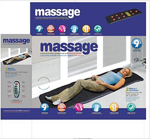 YaOUFBZ Matelas de massage chauffant multifonctionnel avec 9 têtes de massage, matelas de physiothérapie à 9 moteurs pour massage corporel