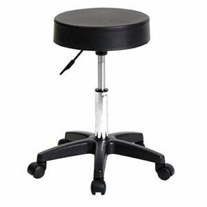 FHKBB Tabouret pivotant Chaise de Travail réglable Tatouage hydraulique Spa siège de Massage Tabouret de Salon en Cuir PU Rembourrage Mince Coussin de siège ondulé Blanc