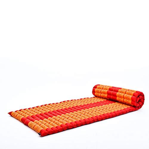 Leewadee Tapis Thaï Enroulable, 200x76x5 cm, Matelas D'invité Tapis De Yoga Matelas De Massage Produit Naturel Et Écologique, Kapok, Orange Rouge