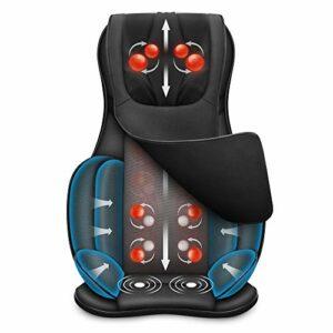 Snailax Coussin de chaise de massage complet du corps – Masseur Shiatsu du cou et du dos avec compresseur de chaleur et d'air, pétrissage du siège de massage, masseur shiatsu pour soulager la fatigue