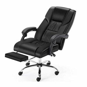 WSJTT Patron Chaises Chaises de jeux vidéo Chaise de bureau, Chaise en cuir Ordinateur, Chaise de bureau ergonomique Fauteuil de massage Patron Game Chair Reclining Rotating avec Repose-pieds de levag
