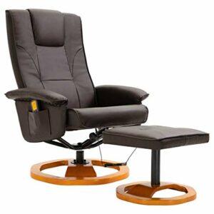 vidaXL Fauteuil de Massage avec Repose-Pied Fauteuil de Relaxation Fauteuil de Salon Electrique Salle de Séjour Maison Intérieur Marron Similicuir
